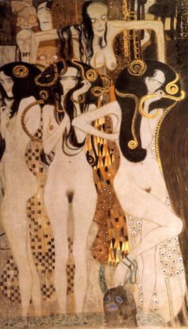 Hostile Forces  Detail 1902 - Gustav Klimt reproduction oil painting