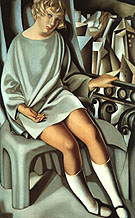 Kizette on the Balcony 1927 - Tamara de Lempicka reproduction oil painting