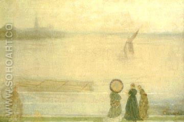 Battersea Reach from Lindsey Houses 1860 - James McNeill Whistler reproduction oil painting